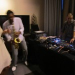 Sax player and DJ at party 2011